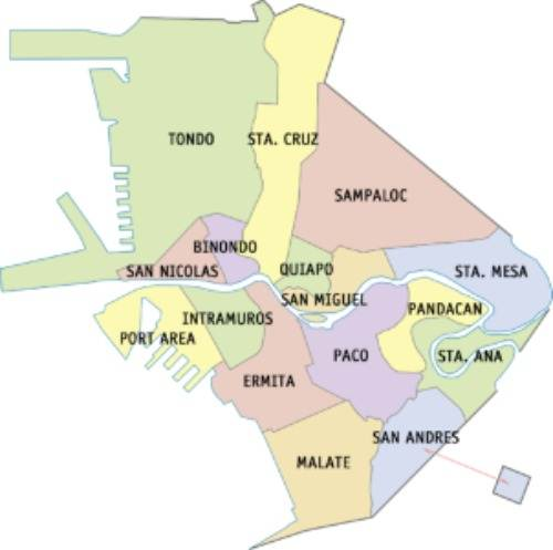 Manila City Manila City map with districts