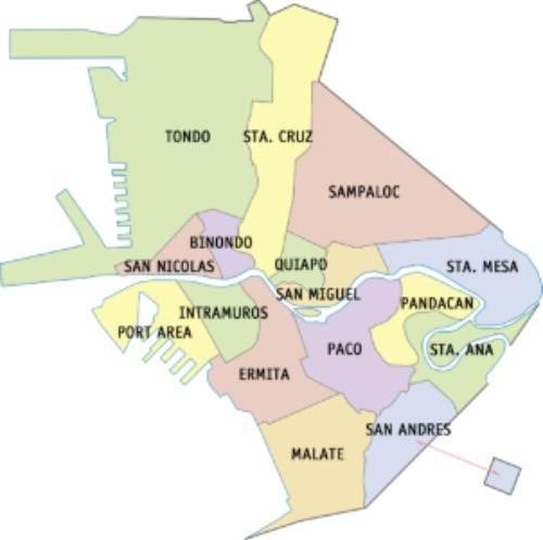 Manila City Manila City map with districts
