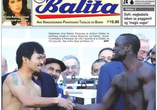 Balita front page care philippine-news